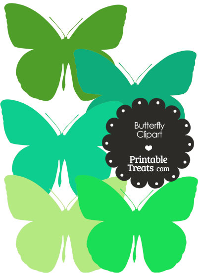 Butterfly Clipart in Shades of Green from PrintableTreats.com