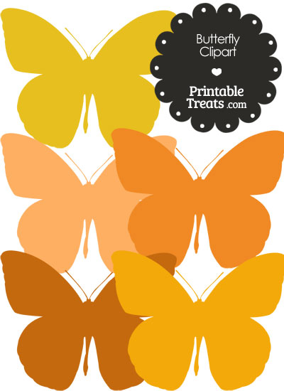 Butterfly Clipart in Shades of Orange from PrintableTreats.com