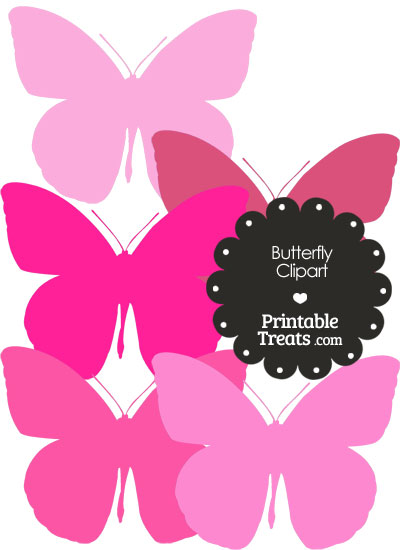 Butterfly Clipart in Shades of Pink from PrintableTreats.com
