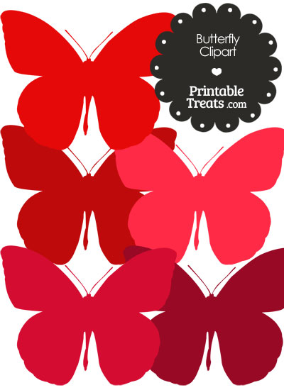 Butterfly Clipart in Shades of Red from PrintableTreats.com