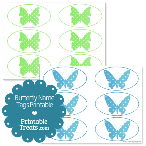 butterfly name tags printable