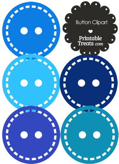 Button Clipart in Shades of Blue from PrintableTreats.com