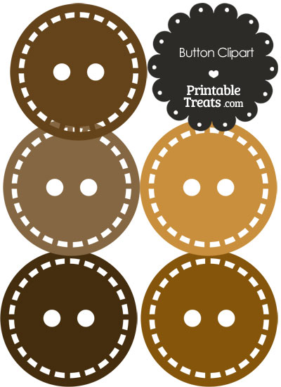 Button Clipart in Shades of Brown from PrintableTreats.com