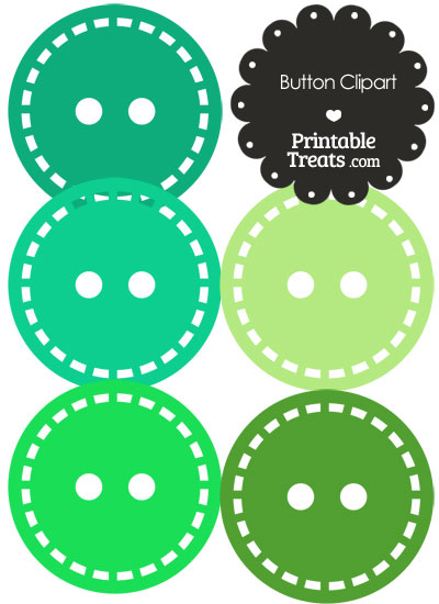 Button Clipart in Shades of Green from PrintableTreats.com