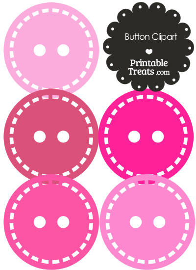 Button Clipart in Shades of Pink from PrintableTreats.com
