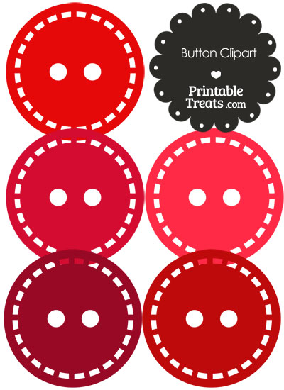 Button Clipart in Shades of Red from PrintableTreats.com