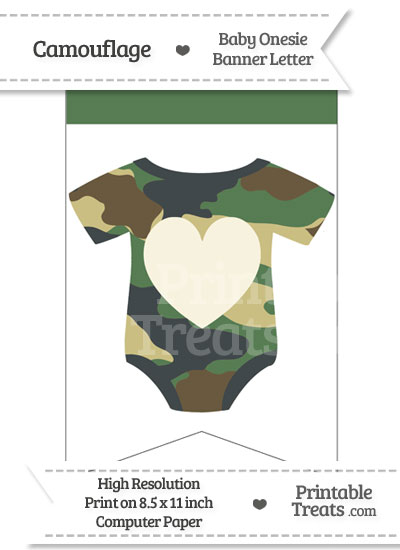 Camouflage Baby Onesie Bunting Banner Heart End from PrintableTreats.com