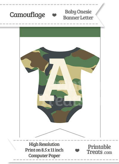 Camouflage Baby Onesie Bunting Banner Letter A from PrintableTreats.com
