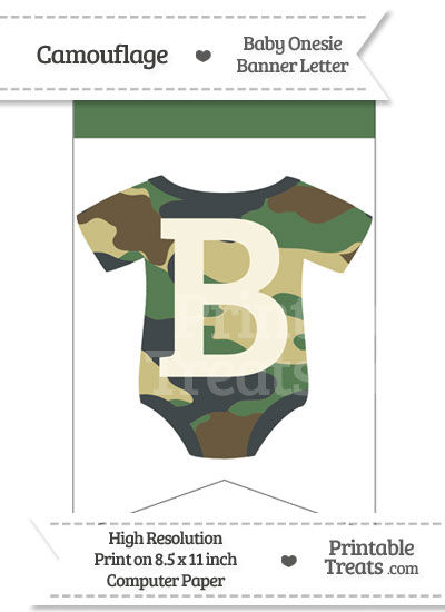 Camouflage Baby Onesie Bunting Banner Letter B from PrintableTreats.com