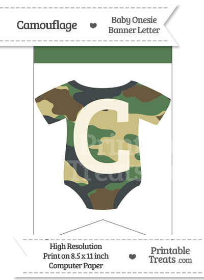 Camouflage Baby Onesie Bunting Banner Letter C from PrintableTreats.com