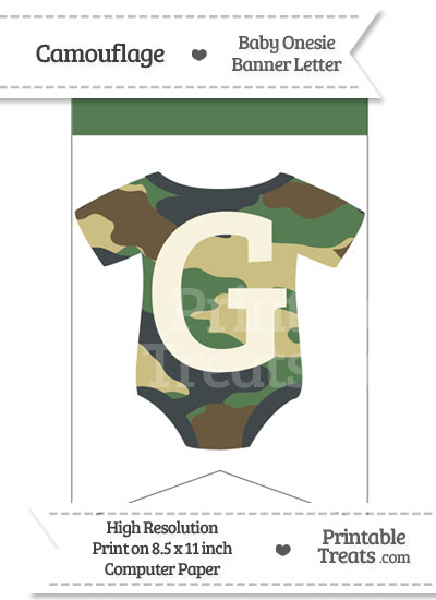 Camouflage Baby Onesie Bunting Banner Letter G from PrintableTreats.com