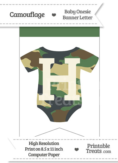 Camouflage Baby Onesie Bunting Banner Letter H from PrintableTreats.com