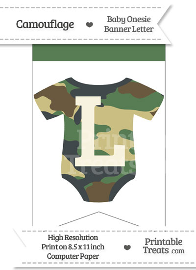 Camouflage Baby Onesie Bunting Banner Letter L from PrintableTreats.com