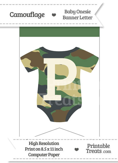 Camouflage Baby Onesie Bunting Banner Letter P from PrintableTreats.com