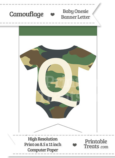 Camouflage Baby Onesie Bunting Banner Letter Q from PrintableTreats.com