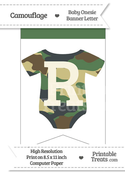 Camouflage Baby Onesie Bunting Banner Letter R from PrintableTreats.com