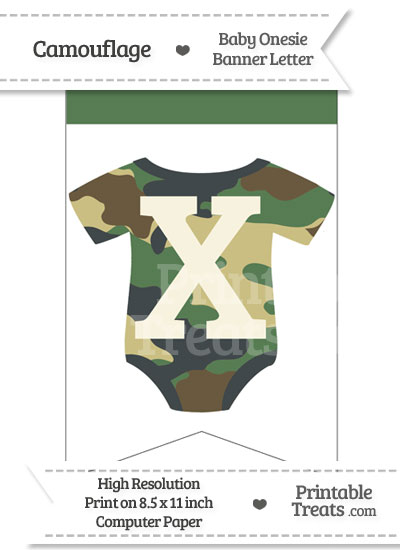 Camouflage Baby Onesie Bunting Banner Letter X from PrintableTreats.com