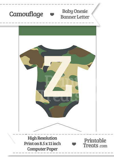 Camouflage Baby Onesie Bunting Banner Letter Z from PrintableTreats.com