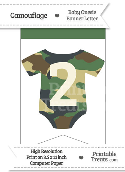 Camouflage Baby Onesie Bunting Banner Number 2 from PrintableTreats.com