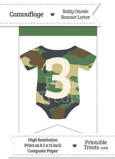 Camouflage Baby Onesie Bunting Banner Number 3 from PrintableTreats.com