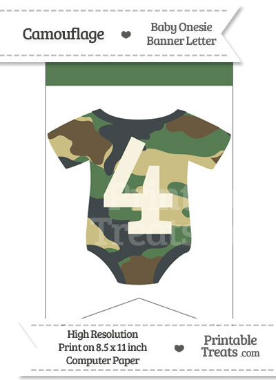 Camouflage Baby Onesie Bunting Banner Number 4 from PrintableTreats.com