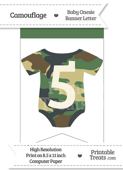 Camouflage Baby Onesie Bunting Banner Number 5 from PrintableTreats.com