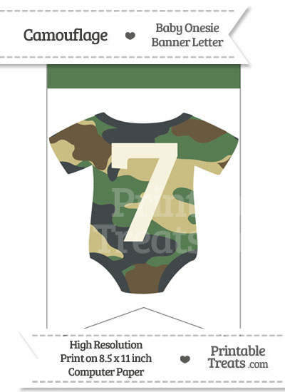 Camouflage Baby Onesie Bunting Banner Number 7 from PrintableTreats.com