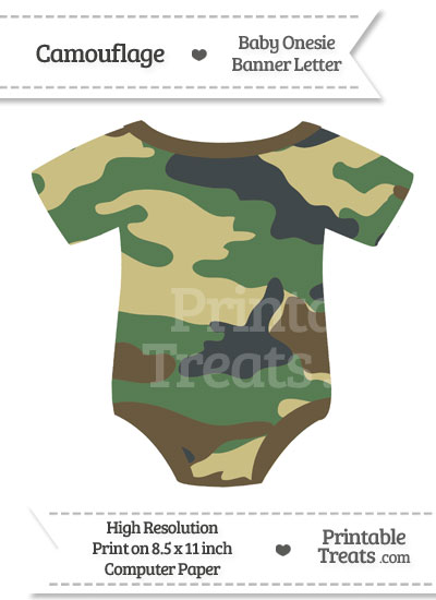 Camouflage Baby Onesie Shaped Banner Blank Spacer Flag from PrintableTreats.com