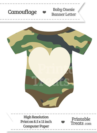 Camouflage Baby Onesie Shaped Banner Heart End Flag from PrintableTreats.com