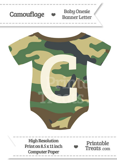 Camouflage Baby Onesie Shaped Banner Letter C from PrintableTreats.com