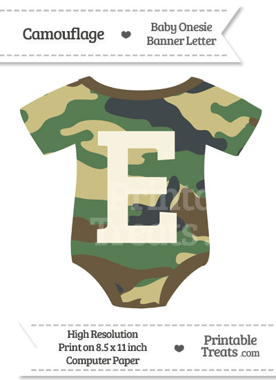 Camouflage Baby Onesie Shaped Banner Letter E from PrintableTreats.com