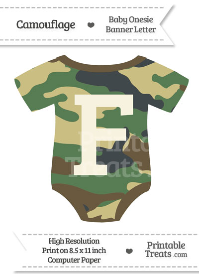 Camouflage Baby Onesie Shaped Banner Letter F from PrintableTreats.com