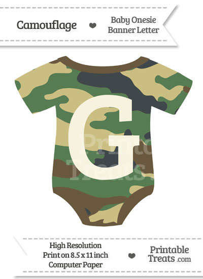Camouflage Baby Onesie Shaped Banner Letter G from PrintableTreats.com