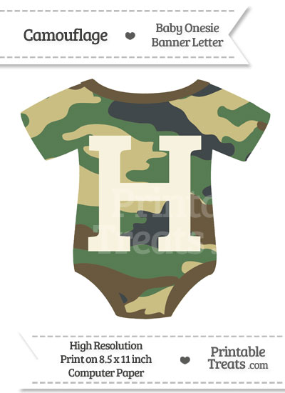 Camouflage Baby Onesie Shaped Banner Letter H from PrintableTreats.com