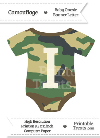 Camouflage Baby Onesie Shaped Banner Letter I from PrintableTreats.com