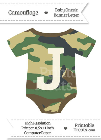 Camouflage Baby Onesie Shaped Banner Letter J from PrintableTreats.com