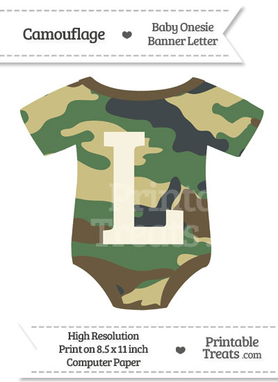 Camouflage Baby Onesie Shaped Banner Letter L from PrintableTreats.com