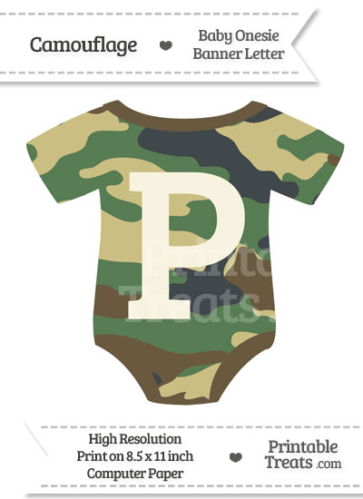 Camouflage Baby Onesie Shaped Banner Letter P from PrintableTreats.com