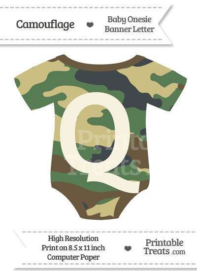 Camouflage Baby Onesie Shaped Banner Letter Q from PrintableTreats.com