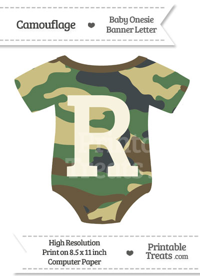 Camouflage Baby Onesie Shaped Banner Letter R from PrintableTreats.com