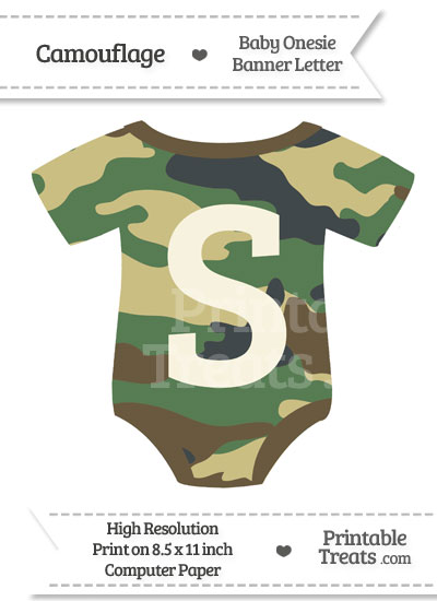 Camouflage Baby Onesie Shaped Banner Letter S from PrintableTreats.com
