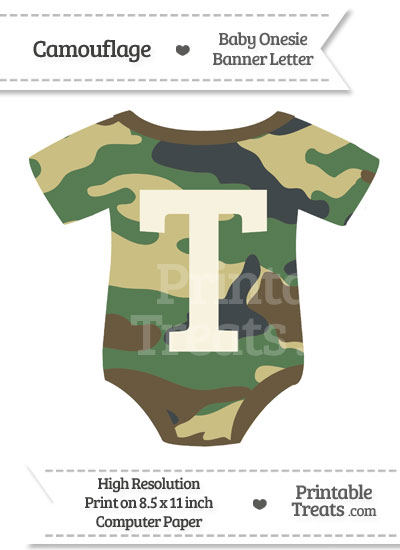 Camouflage Baby Onesie Shaped Banner Letter T from PrintableTreats.com