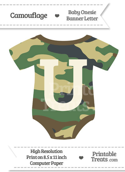 Camouflage Baby Onesie Shaped Banner Letter U from PrintableTreats.com