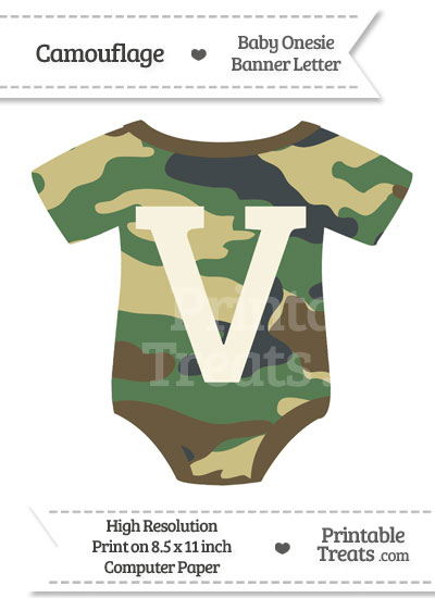 Camouflage Baby Onesie Shaped Banner Letter V from PrintableTreats.com