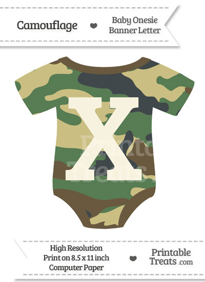 Camouflage Baby Onesie Shaped Banner Letter X from PrintableTreats.com