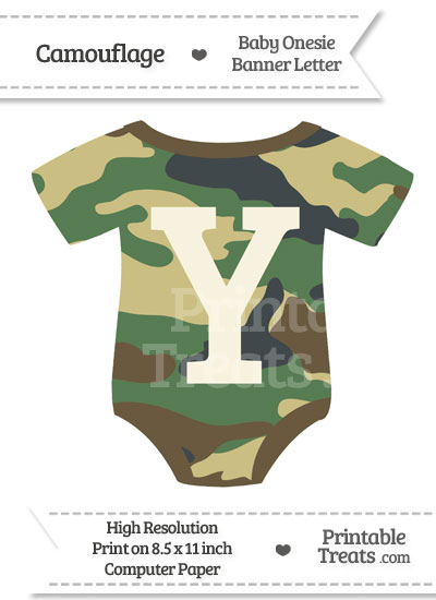 Camouflage Baby Onesie Shaped Banner Letter Y from PrintableTreats.com