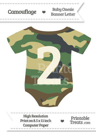 Camouflage Baby Onesie Shaped Banner Number 2 from PrintableTreats.com