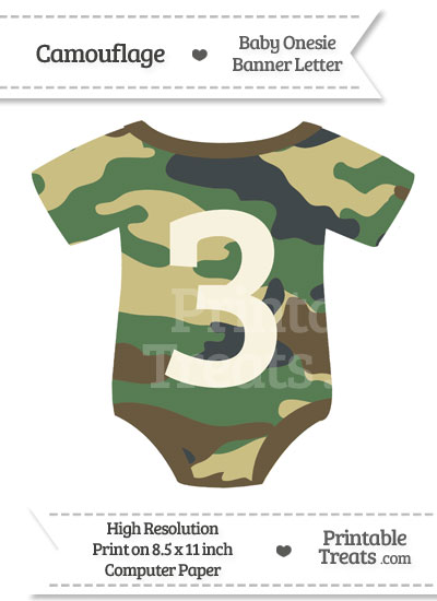 Camouflage Baby Onesie Shaped Banner Number 3 from PrintableTreats.com