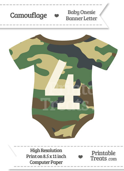 Camouflage Baby Onesie Shaped Banner Number 4 from PrintableTreats.com