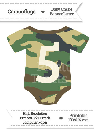 Camouflage Baby Onesie Shaped Banner Number 5 from PrintableTreats.com